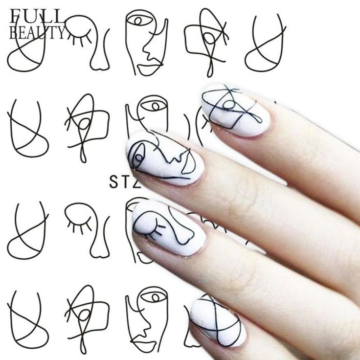 Full Beauty 1 Sheet Nail Water Sticker DIY Black Abstract Image Nail Art Paper Decoration Manicure Style Tool CHSTZ651-53