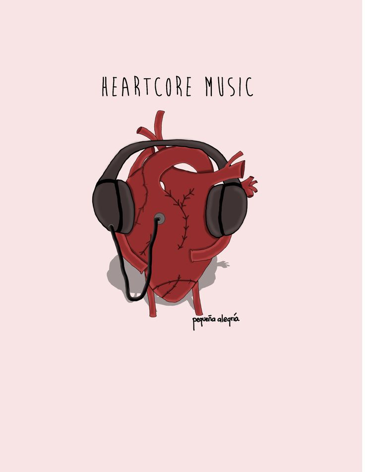 Heartcore Music.  Illustration by pequeña alegría.