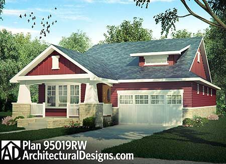 I love this one... The ONLY one I like WITH a garage. Craftsman Cottage With Sturdy Front Porch - 95019RW   Bungalow, Cottage, Country, Craftsman, Northwest, Narrow Lot, 1st Floor Master Suite, CAD Available, Den-Office-Library-Study, PDF   Architectural Designs