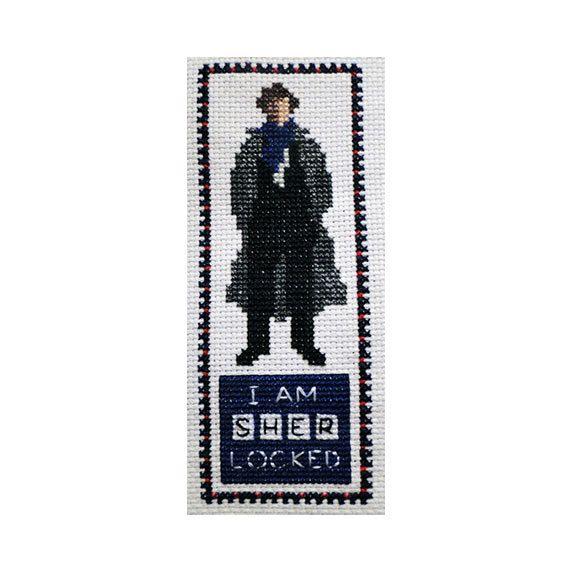 "Sherlock Holmes ""I Am Sherlocked"" Cross Stitch Bookmark: Cross Stitch Bookmarks, Cross Stitch Sherlock Holmes, Crossstitch, Crosses, Bookmark Cross Stitch Pattern, Bookmark Chart Pattern, Sherlock Cross Stitch Patterns, Cross Stitches, Cross Stitch Bookmark Patterns"