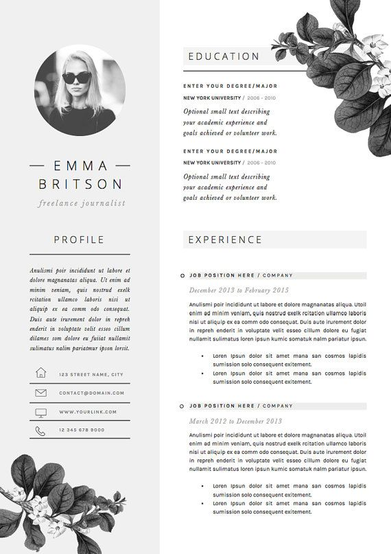resume template 5 pages cv template cover letter references for ms word instant digital download the petal