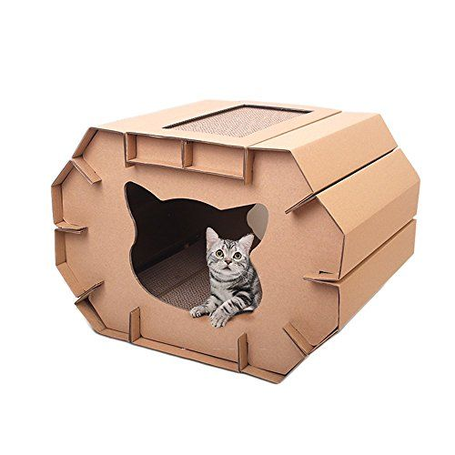Besplore Cat Cardboard House,Cat Playhouse,Kitty house,Kitty Litter in Corrugated Paper *** Check out this great sponsored product.