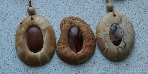Pendants from birch burl.