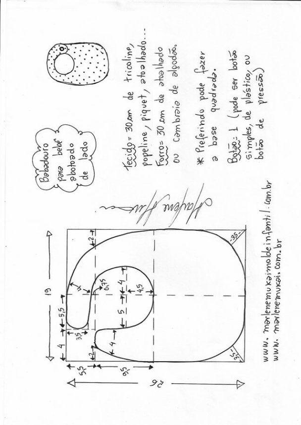 4 baberos para bebés Patrones para confeccionar 4 bonitos y originales baberos para bebés. Fuente:http://marlenemukaimoldeinfantil.com.br/ Saco de dormir para bebéBabero muy amplio y fácil de hacerDIY bolsa para pañales para bebéBody oriental para bebéPatrón saco de dormir con gorro para bebéPatrón Biquini infantilPatrón de enterizo de oso para bebésBabero original para bebésBaberos con …