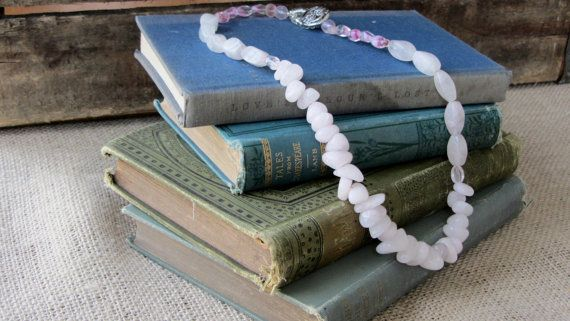 Pale Pink Necklace by AmarisJewelry on Etsy