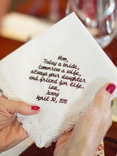 """""""To give to mom before the ceremony starts."""" -yeah, great idea if you want your mom to cry hysterically before you even walk down the aisle. Better idea: sneak it into her purse where she can easily see it, and let her find it on her own. Surprise!"""