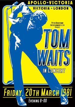 TOM WAITS - 20 march 1981 - london - Apollo Victoria - retro vintage concert poster on Etsy, $13.95