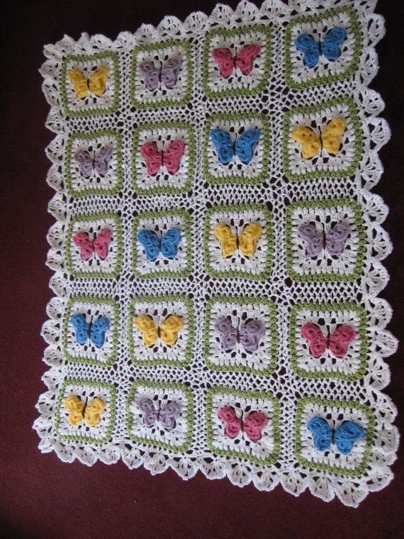Butterfly Baby Blanket Knitting Pattern : Crocheted Butterfly Kisses Baby Afghan by JodysRagsToRiches, USD95.00 Crochet...
