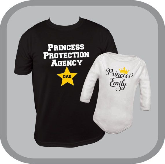 Matching Dad and Daughter shirt and one piece, new dad shirt, princess onesie (R), customized baby girl bodysuit, princess protection agency, new father gift, new daddy, personalized