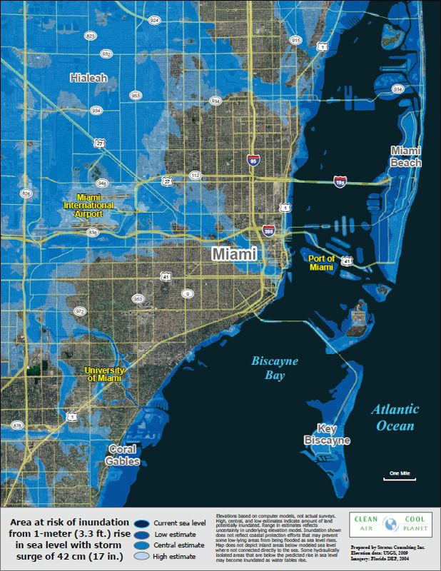 a elevation map of miami, florida. the low elevation of