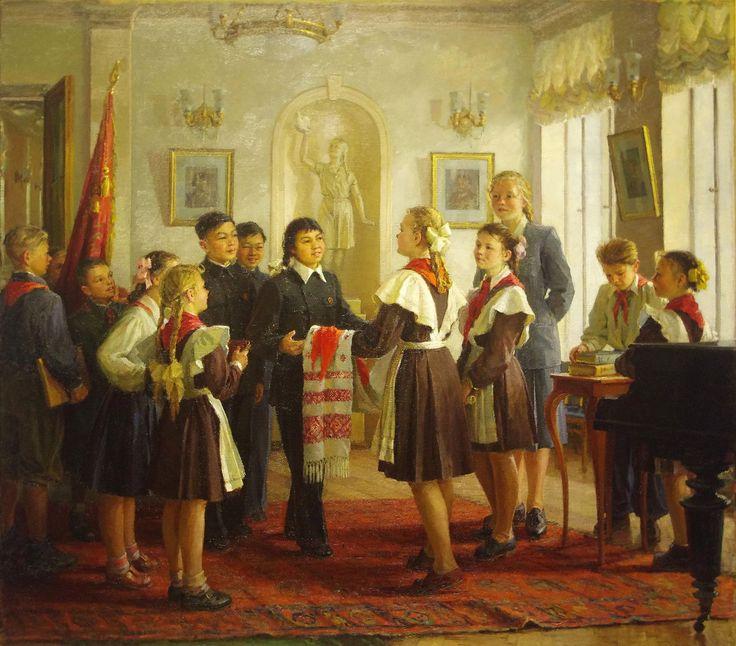 Жолток Валериана Константиновна (1919-80). Китайские дети в гостях у минских пионеров. Начало 1950-х