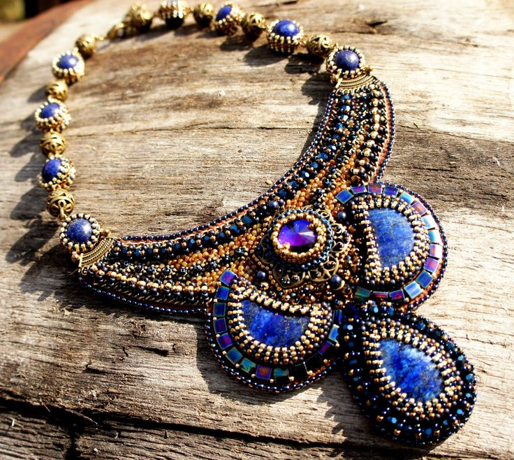 Embroidery Necklace Statement.  Lapis Lazuli