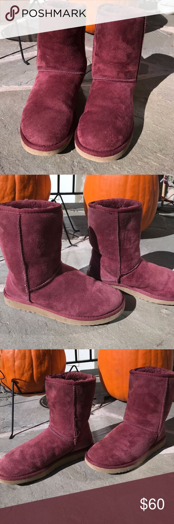 Burgundy Uggs Overall used but good condition, fur inside in good condition and no smell, soles lightly worn, suede may show light signs of wear but in overall good condition (small hardly noticeable spot on left boot see 2nd to last pic) UGG Shoes Winter & Rain Boots
