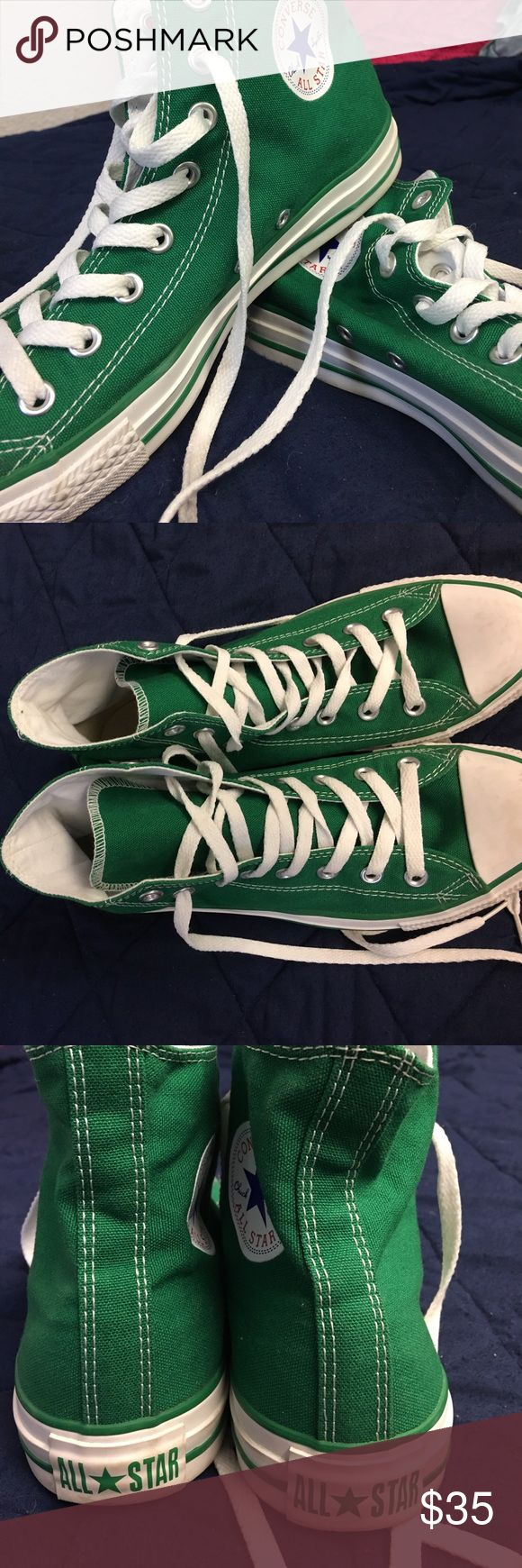 Green Chuck Taylor Converse High Tops Women's 10 GREEN high top converse!! Women's size 10 (Men's 8) Hardly worn! Canvas shows no sign of wear Will clean the white parts upon sale :) Converse Shoes Sneakers