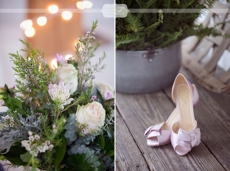 flower and shoe detail photos from a gorgeous barn wedding venue near columbia mo