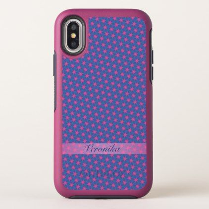 Pink stars on a blue background OtterBox symmetry iPhone x case - monogram gifts unique custom diy personalize