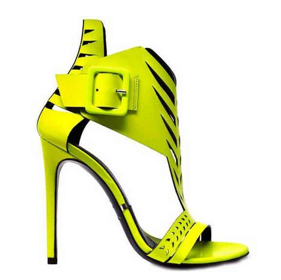 Gianmarco Lorenzi Yellow Laser Cut Sandals | SS 2014 | cynthia reccord