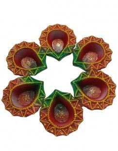 Set Of Six Designer Diwali Diya