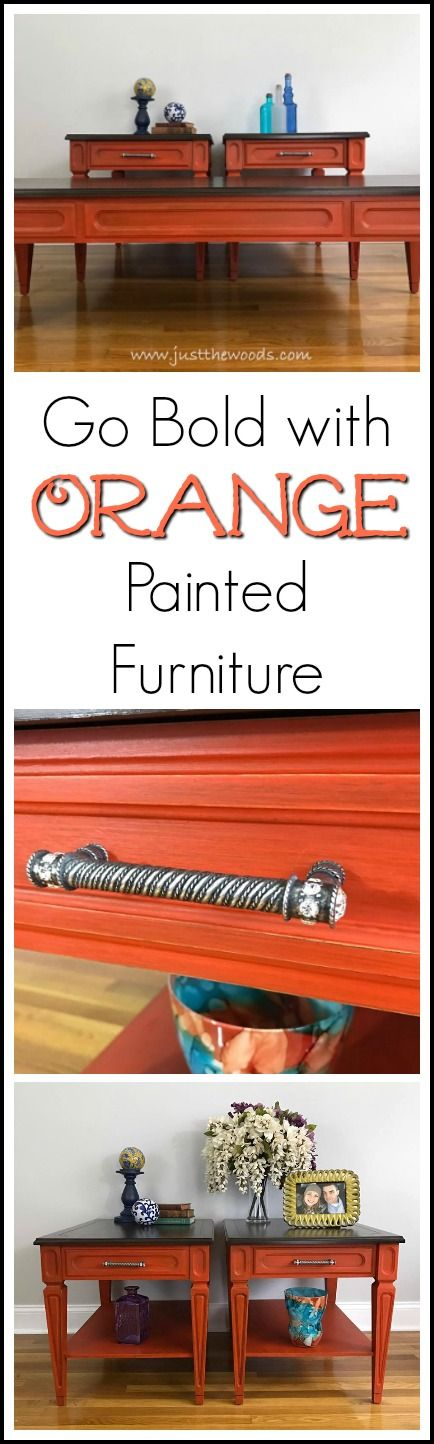 Would you ever go bold with orange painted furniture? If you love bold color than you may love these orange painted tables!