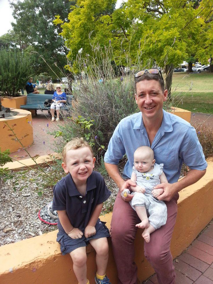 Henry, Audrey and Alex Wyatt celebrate Australia Day at Hindmarsh Park, Kiama