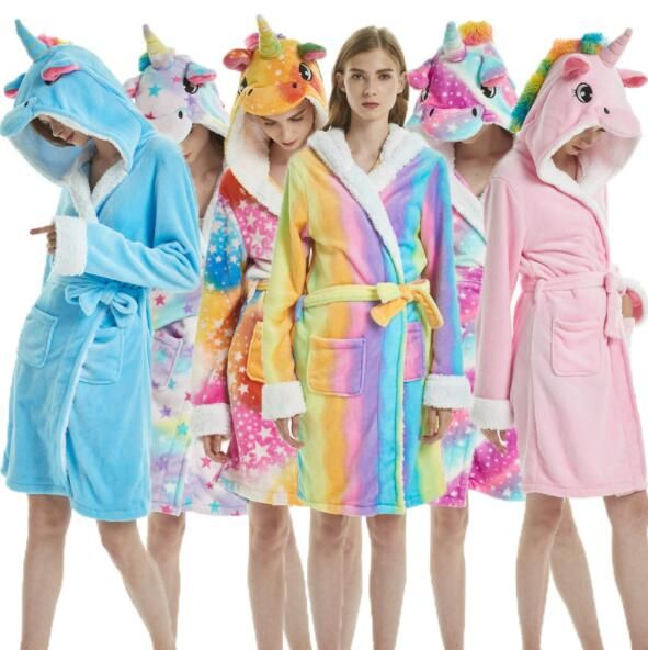 Girls Unicorn Personalised Bathrobe Unicorn Dressing Gown Girls Soft Hooded Robe Warm Fleece Dressing Gown Purple Print House Personalised Unicorn Gifts for Girls 7-8 Years, Rainbow Unicorn