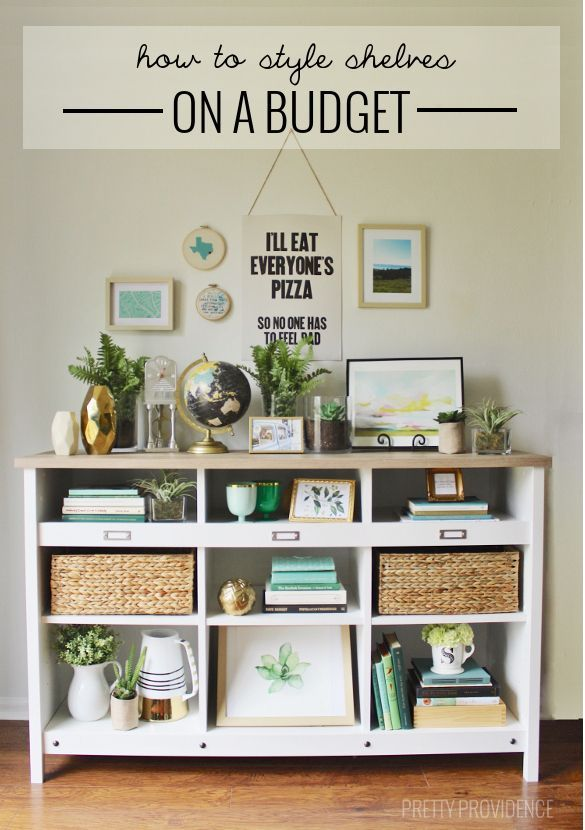 Tips for styling shelves on a budget! You can use ordinary books + thrifted knick knacks! #ad #PutTogether