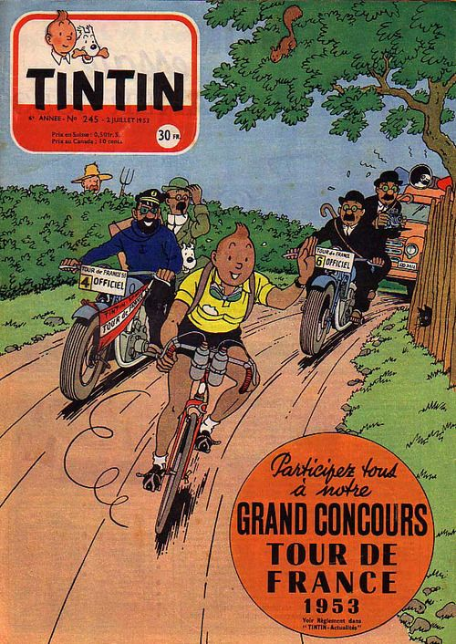 Tintin sur le Tour de France 1953,  vêtu du maillot jaune