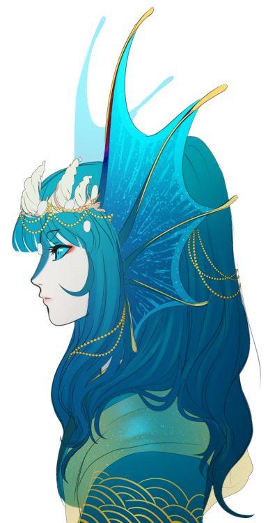 Whitemantis suihen water dragon character design - Anime boy dragon ...