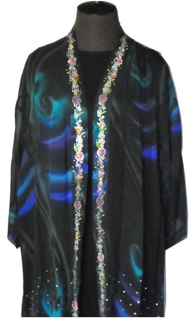Elegant Silk Jacket Kimono Style with Sparkle Trim.  $129.00
