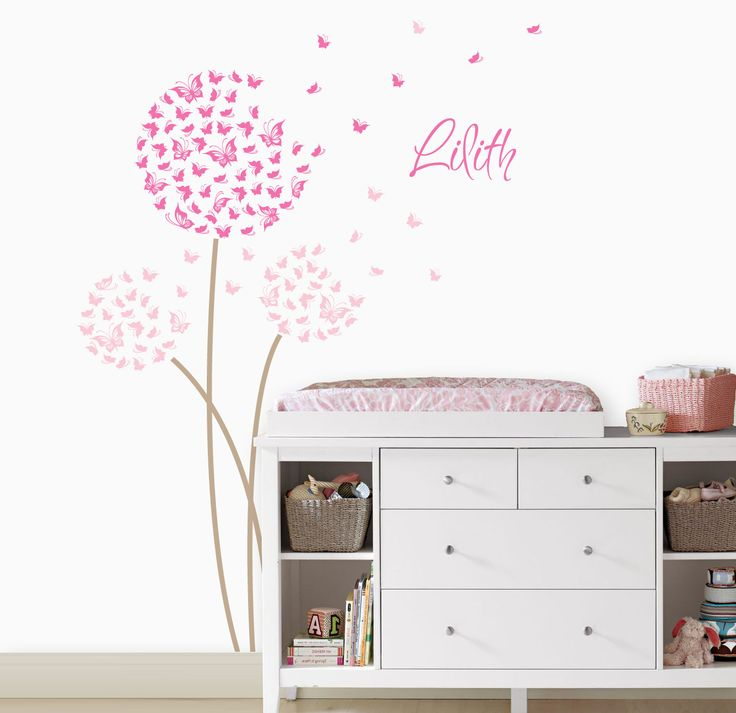 Dandelion Wall Decal | Butterfly Dandelion Wall Decal | Custom Color with Butterflies | Custom Baby Nursery | Butterfly Sticker Set 033