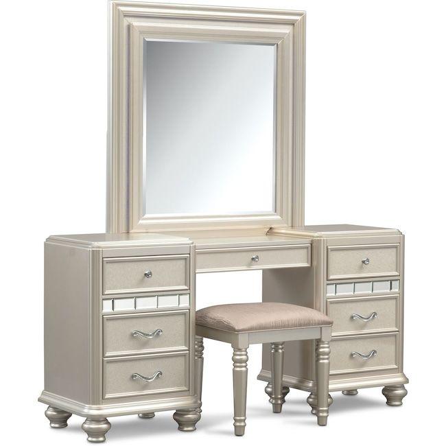 Bedroom Furniture Sabrina Vanity Desk Mirror And Bench Platinum Value City Furniture City Furniture Vanity Desk