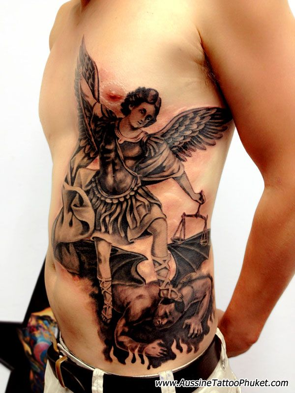 pics of st. michael tattoos | Saint Michael the Archangel Tattoo http://www.aussinetattoophuket.com ...