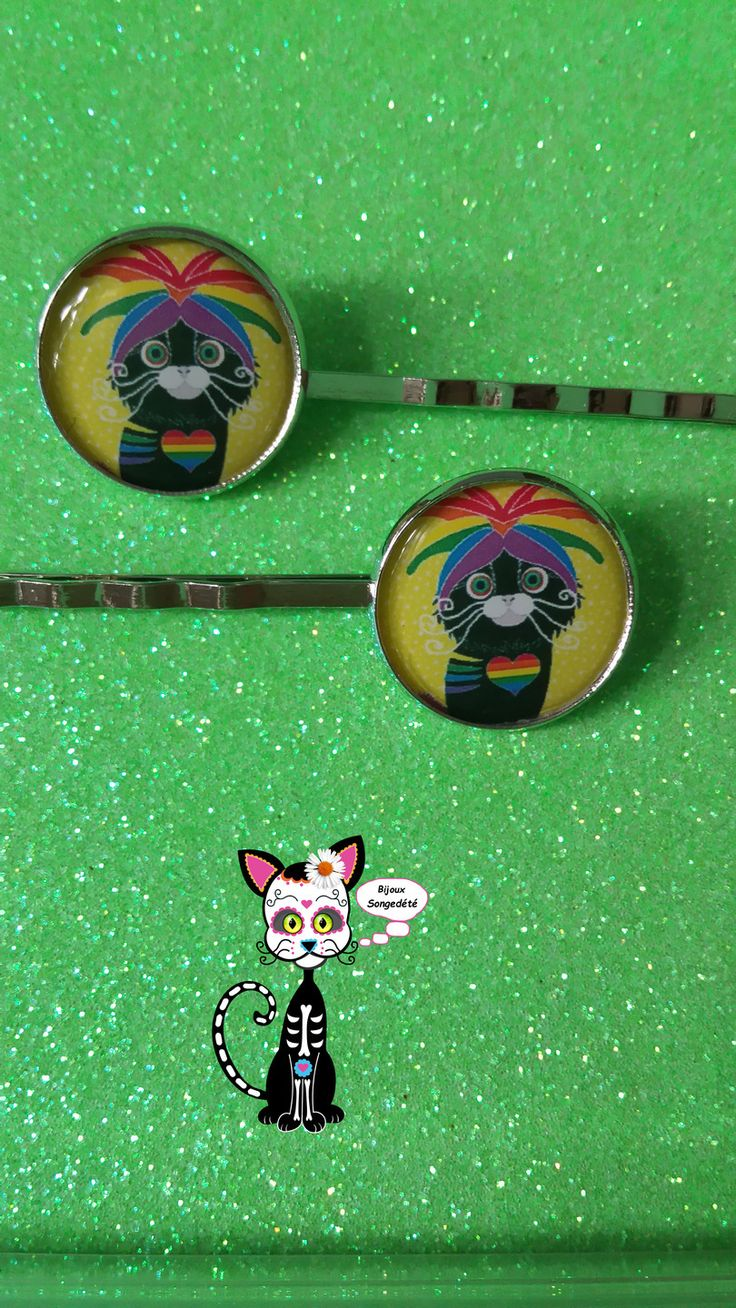 Bijoux Cheveux Duo Barrettes Cabochon Kawaii Chat Rainbow Gay