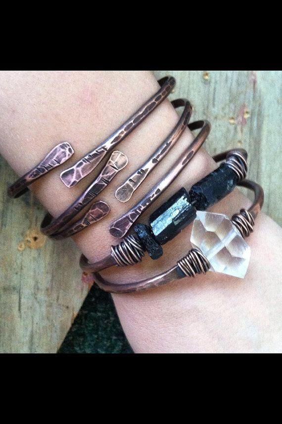 Bangle Bracelet Set Copper Bangles Raw Gemstone Bracelets Healing Crystal…