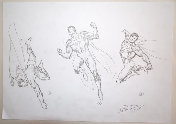 ORIGINAL ARTWORK - SUPERMAN MODEL SHEET 2 w 3 ACTION POSES by Artist Ivan Reis | eBay