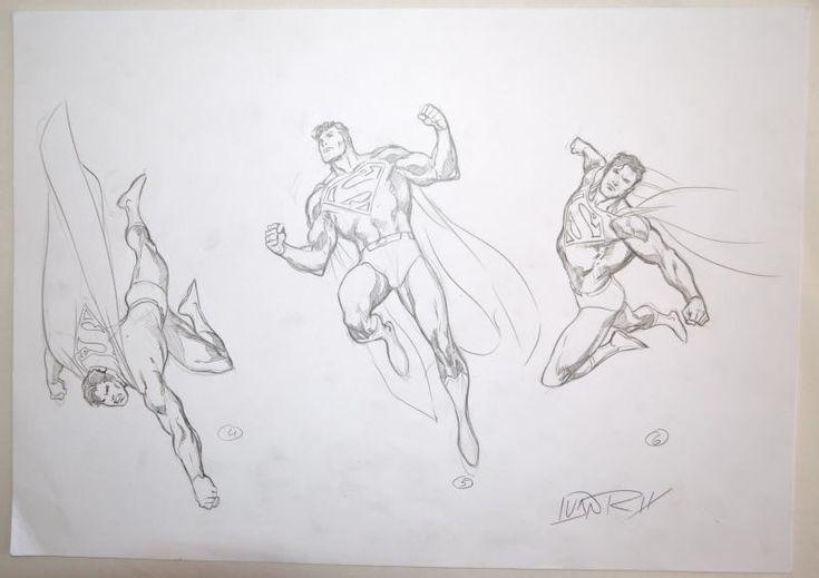 ORIGINAL ARTWORK - SUPERMAN MODEL SHEET 2 w 3 ACTION POSES by Artist Ivan Reis | eBay