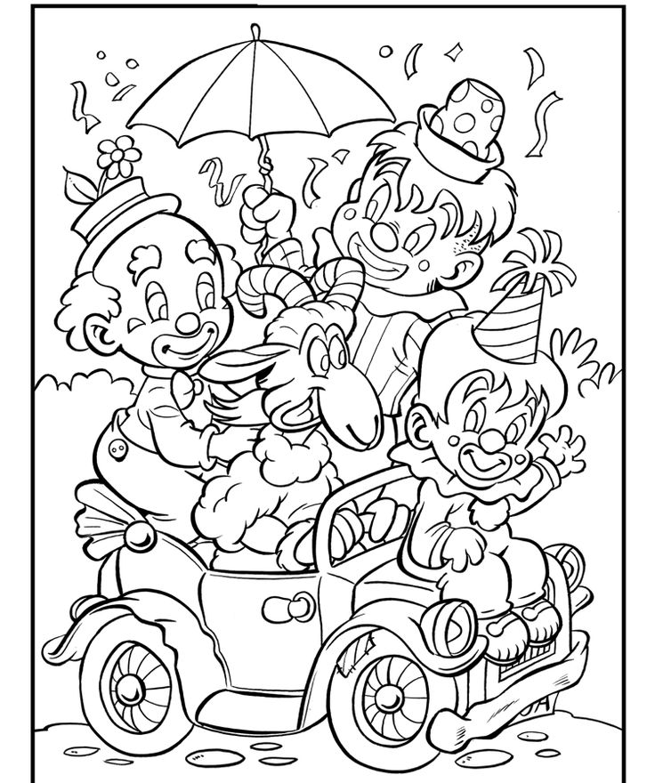 Karneval Ausmalbilder Kinder Clown Faschingszug children ...