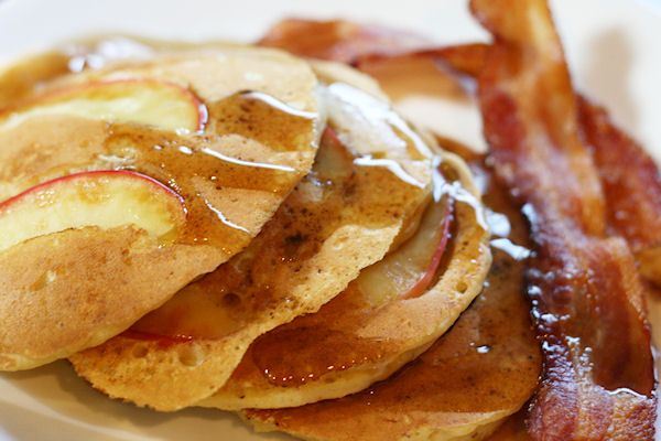 Apple cider pancakes, perfect for autumn