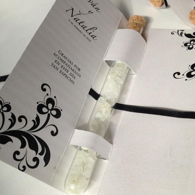 Bath salt display for wedding gifts