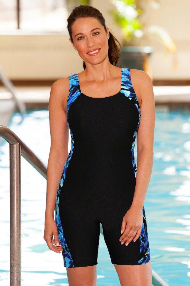 Waterpro Chlorine Resistant Blue Tropics Splice Unitard One Piece