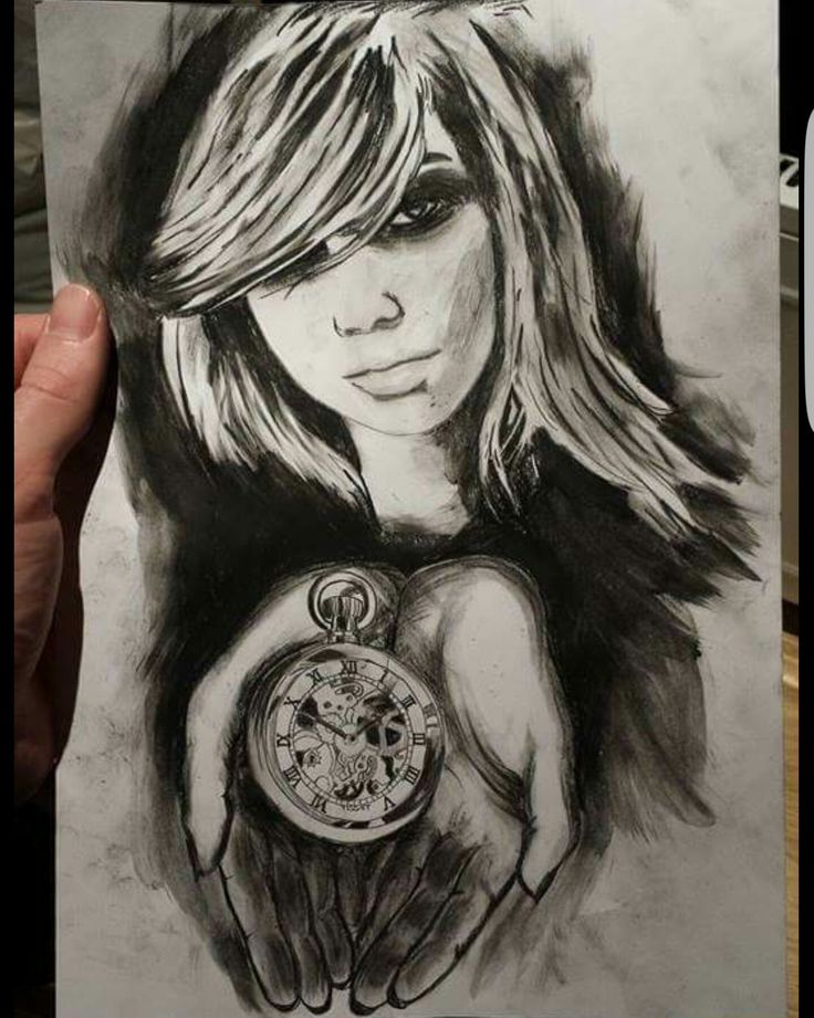 Tattoo girl clock