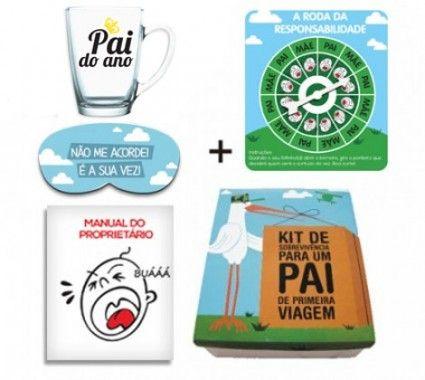 O kit de sobrevivência de um pai de primeira viagem é ideal para chá de bebê ou visita na maternidade