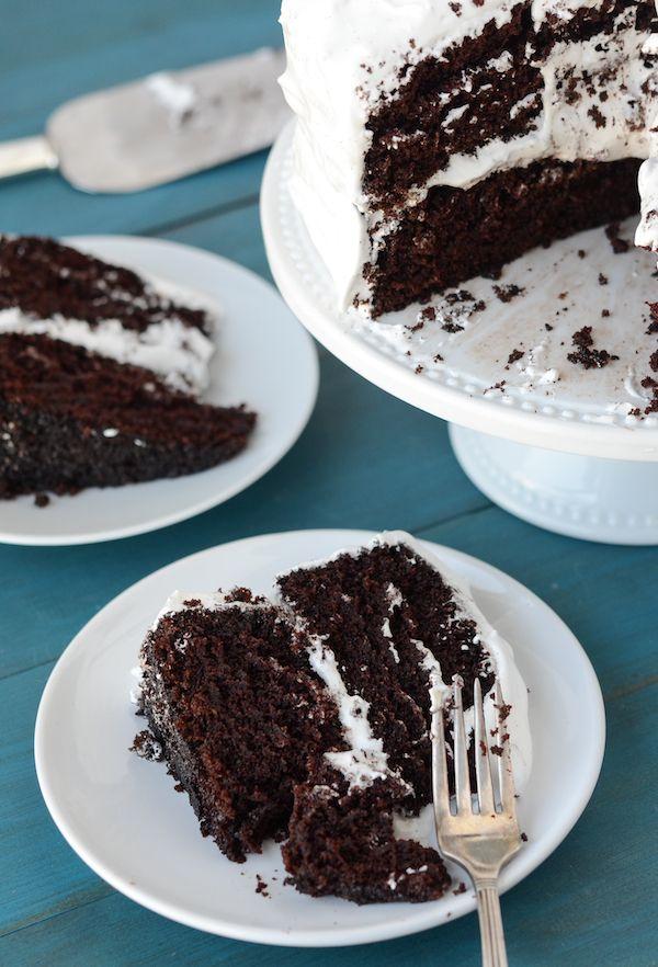 Dark Chocolate Marshmallow Cake from thenovicechefblog.com (dark chocolate icing for cake)