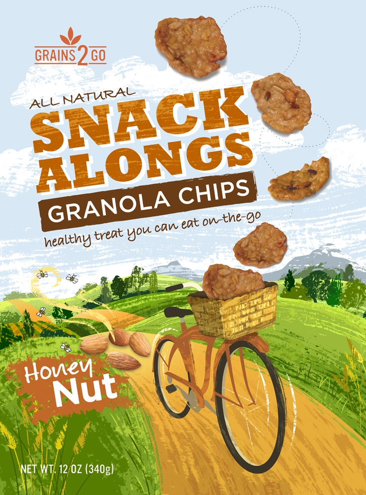 SnackAlongs  Granola Chips.  This is the original layout, the type has been altered on final version.