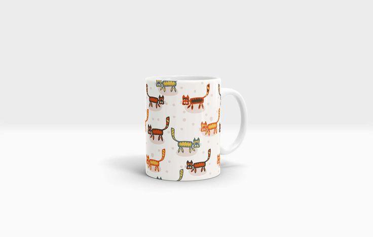 Cat Mug. 11oz Ceramic Mug. by NJsBoutiqueCo on Etsy