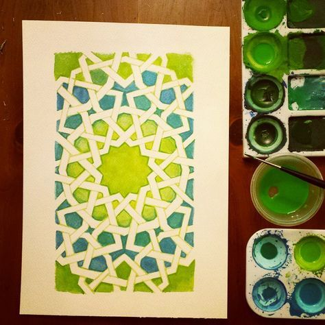 This is definitely filtered... brings out the colours in a way that I didn't paint 'em. #islamicgeometry #gouache #watercolour