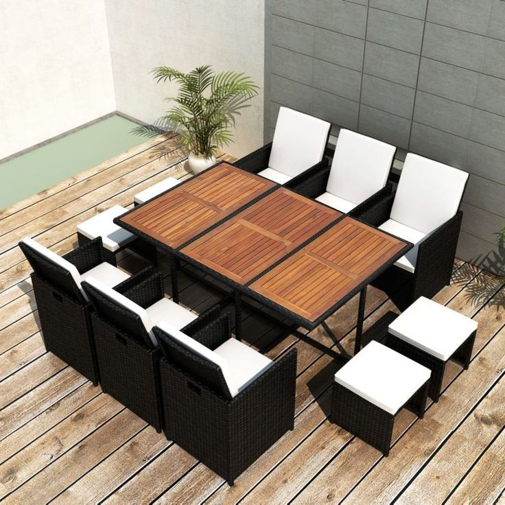 Patio Furniture Dining Set Outdoor Wicker Rattan 11 Pc Garden Table And  Chairs