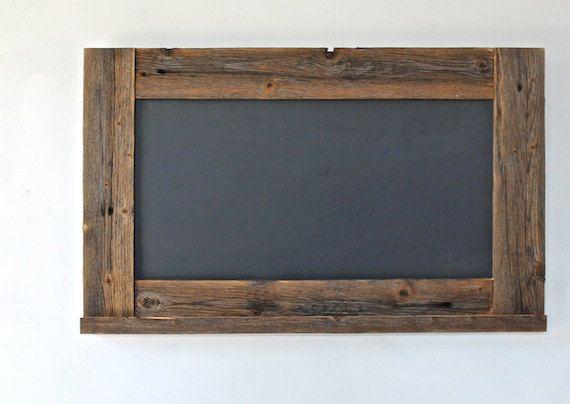 Chalkboard - Reclaimed Wood Framed with Ledge - 28x20 Kitchen Chalkboard - Rustic Modern Decor