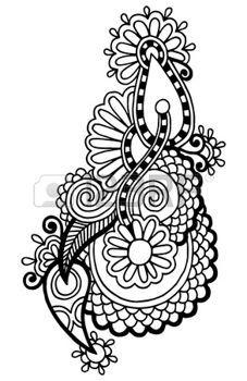 linea nera arte ornato disegno del fiore, stile etnico ucraino, AutoTrace di disegno a mano photo