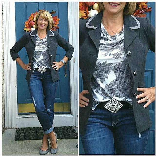 #OOTD: I wore this outfit to the Rick Springfield/ Loverboy/ Romantics concert last night. It was comfy and the ponte jacket let me rock out all night! I wore the Crew Blazer over the Tango Tank, Dark Destruction Slim Boyfriend, and my new Statement Buckle (from the Welcome Warmth new arrivals). The Statement Buckle is super blingy and will be a fun accessory with my Kipling Belt. 80's music still rules! (IMHO)#cabiclothing #cabifall15 #CrewBlazer #TangoTank #DarkDestructionSlimBoyfriend…